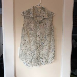 Cream patterned sleeveless button top